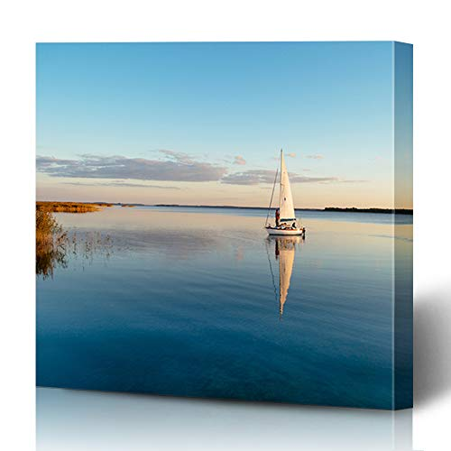 Ahawoso Canvas Prints Wall Art Printing 12x16 Sail Morning Sailing Boat Friends On Calm Lake Reflection Parks Landscape Sailboat Mast Sun Relax Painting Artwork Home Living Room Office Bedroom Dorm (Sitting On The Dock Of The Bay Artist)