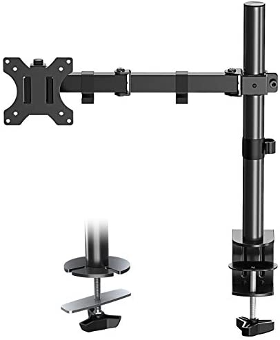 Eono by Amazon – Single Monitor Arm Desk Mount Height Adjustable PC Monitor Stand Mount Fits Most Monitors up to 27″ with VESA 75×75 or 100x100mm Clamp and Grommet Base, Full Motion Monitor Mount PL01