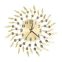 Pinleg Wall Clock, Creative Wrought Iron Diamond Fashion Wall Clock Bedroom Living Room Decoration Clock Vintage Quartz ClockSilent Metal Decor for Home Wall Decor (Gold)