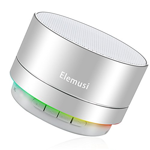 Elemusi Bluetooth Speaker,Portable Stereo Outdoor Speaker,Mini Wireless speaker with HD Audio and Enhanced Bass, Built-in-Mic Speakerphone, FM Radio and TF Card Play Music (Silver)