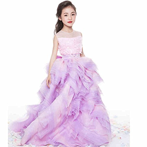 5d00b20193f Amazon.com  XSWPL Baby Princess Bridesmaid Flower Girl Dresses Appliques  Prom Dress with Detachable Train  Clothing
