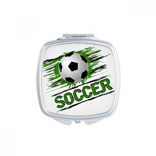 DIYthinker Green Soccer Football Sports Square Compact Makeup Pocket Mirror Portable Cute Small Hand Mirrors Gift by DIYthinker