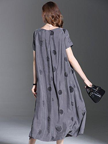 L Rond Gris Robe Femme Col Manches Ample Imprime Courtes Vogstyle qzxTAg00