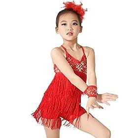 - 412hXkOmr0L - MiDee Latin Dress Dance Costume 3 Colors Camisole Sequins Tassels Skirt for Girls