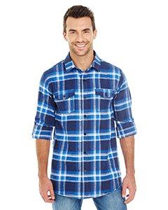 Burnside Men's Yarn-Dyed Long Sleeve Flannel Shirt, Blue/White, L - Light Blue Camp Shirt