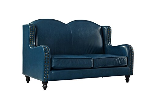 Leather Match Loveseat 2 Seater, Living Room Couch with Nailhead Trim (Blue)