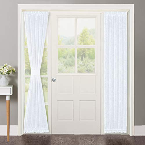 NICETOWN Sidelight Curtains for Front Door - Linen Textured Look Semi Voile Privacy Sidelight Panel Curtains Including Tiebacks, Sold as 2 Pieces, 30 inches Wide x 72 inches Long, White (Curtains Door Side Window Panel)