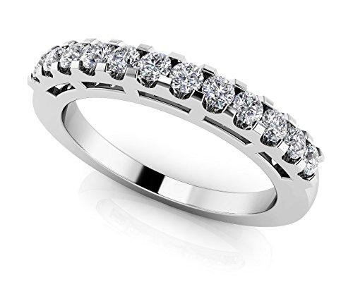Or blanc 14K douze sur bande de diamant