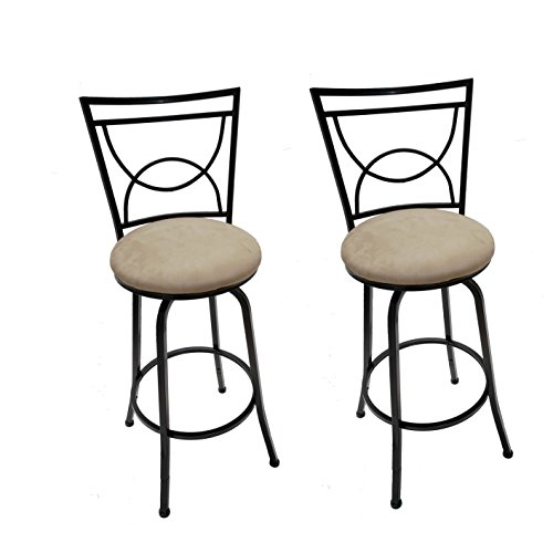 Legacy Decor Black Adjustable Swivel Counter Height Bar Stools 24