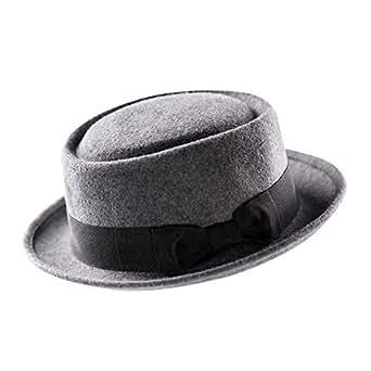 39b132bf1f8 Pork Pie Hat-100% Wool Felt Men s Porkpie Hats Flat Mens Fedora Top ...
