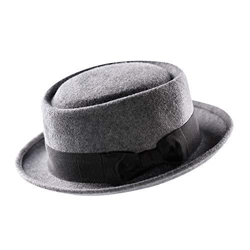 Pork Pie Hat-100% Wool Felt Men's Porkpie Hats Flat Mens Fedora Top Classic Give Thanks Gift Christmas Decoration(L:7 3/8-23 1/4