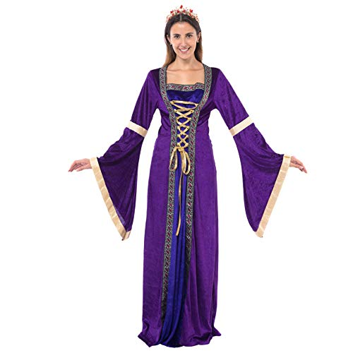 Spooktacular Creations Women's Deluxe Renaissance Dress Lady Costume Princess Castle Renaissance Skirt Costume with Royal Queen Tiara Crown (Size Small)