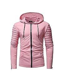 AMOUSTORE Mens Hoodies Solid Pullover Lightweight Sweatshirts Pockets,Hoodies for Men Zipper