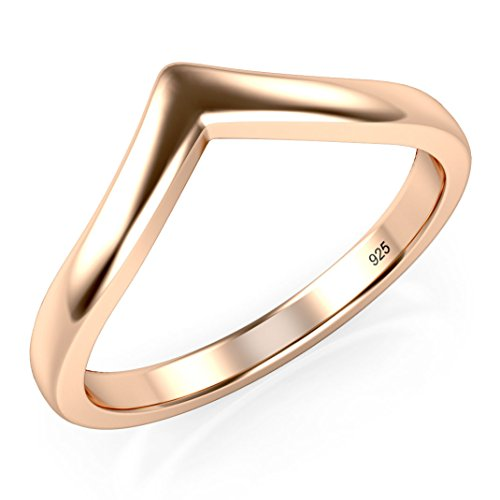 (Sz 6 Rose Gold Plated Sterling Silver 925 Chevron Stackable Ring)