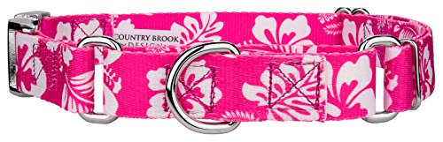 Country Brook Petz | Pink Hawaiian Martingale with Premium Buckle - Large