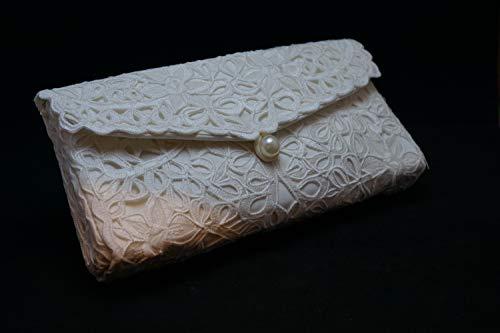 (Champagne Lace Clutch Purse, Envelope Clutch Purse, Philippines Cutwork Embroidery Clutch, Bridal Clutch Purse, Wedding Clutch, Jusi Silk)