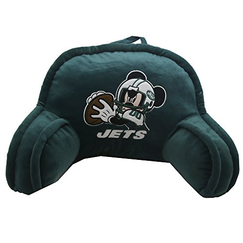 20x12 Bedrest Fan - The Northwest Company NFL New York Jets Mickey Mouse Plush 12-Inch-by-20-Inch Embroidered Bed Rest Pillow