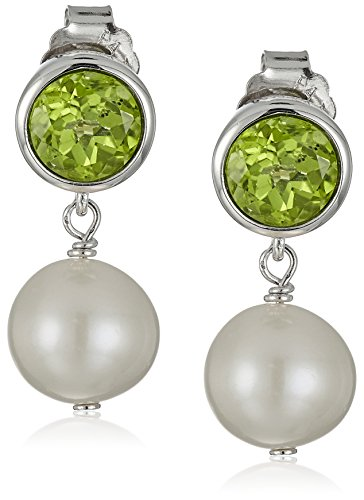 Bezel Peridot Stud Earrings (Sterling Silver Genuine Peridot 6mm and White Freshwater Cultured Pearl 8-9mm Bezel Set Birthstone Drop Stud Earrings)