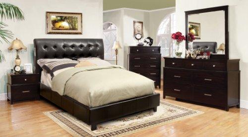 Furniture of America Mason Leatherette Platform Bed with Bluetooth Speakers Headboard Design, Queen, Dark Espresso
