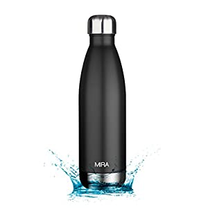 MIRA Vacuum Insulated Stainless Steel Water Bottle | Leak-proof Double Walled Cola Shape Sports Water Bottle | No Sweating, Keeps Your Drink Cold 24 hours or Hot 12 hours | 25 Oz (750 ml) | Black