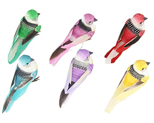 Ornaments Artificial (lwingflyer 6pcs Artificial Simulated Feather Birds with Claw Foam Mini Love Birds for Craft Home Ornaments Garden Wedding Decoration 10cm/3.9inch)