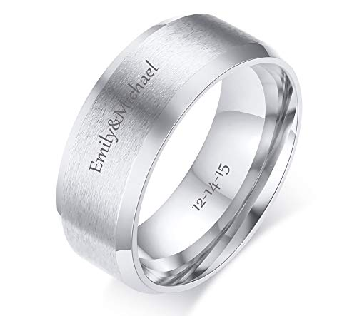 VNOX Free Engraving Personalized Custom 8MM Stainless Steel Plain Band Ring for Men,Silver,Size 8