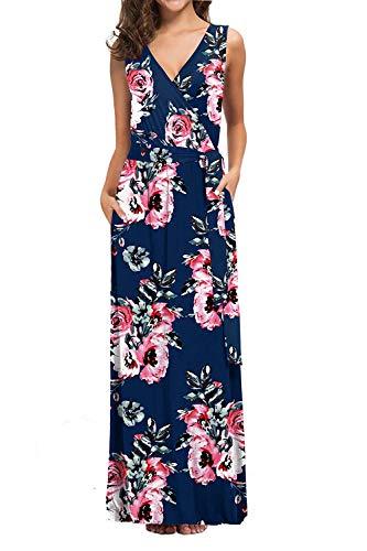 Womens Casual Wrap Dresses Floral Empire Waist Beach Long Dress Navy Blue XL