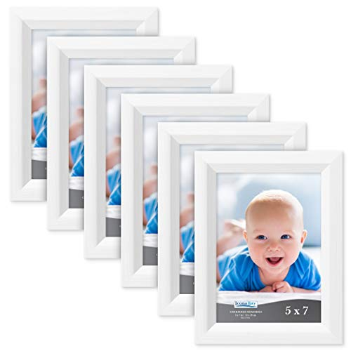 Icona Bay 5x7 Picture Frame (6 Pack, Aspen White Wood Finish), White Photo Frame 5 x 7, Composite Wood Frame for Walls or Tables, Set of 6 Cherished Memories Collection (Christmas Picture Frames 5x7)