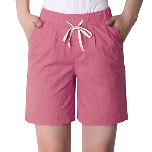 Chartou Women's Modest Loose Elastic-Waisted Bermuda Drawstring Casual Shorts (XX-Large, Pink)