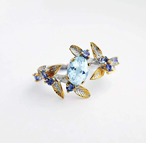 LoveMirror: Blue aquamarine ring | Handmade 925 Sterling silver jewelry with natural gemstones | blue tanzanite | leaves branch nature ring | Mother's day gift - Tanzanite Two Ring Tone