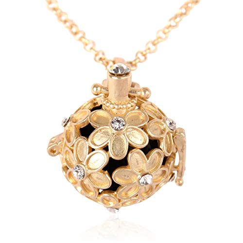 - RIAH FASHION Aromatherapy Essential Oil Diffuser Lava Stone Bead Charm Chain - Volcanic Rock Locket Pendant Perfume Necklace Heart/Owl/Filigree/Flower (Daisy - Gold)