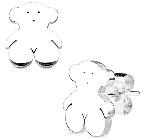 Inspiration Dezigns Teddy Bear 316L Stainless Steel Earring Studs Pair