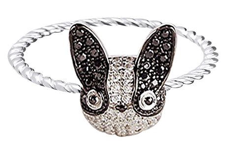 (Pet Puppy Dog French Bulldog Animal Cluster Fashion Ring in 14K White Gold Over Round Cut White & Black CZ Ring Size-7.5)
