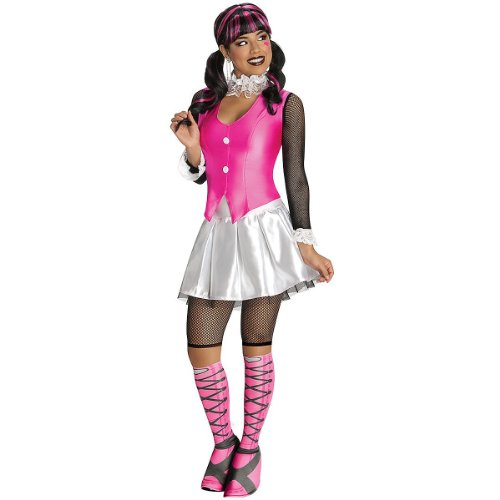 Secret Wishes Monster High Deluxe Adult Draculaura Costume, Pink/White, Small