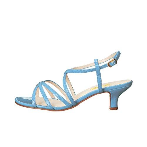 Abito Estivo Xyd Sandali Slingback Open Toe Classici Scarpe Con Tacco Basso Gessato Per Donna Blu