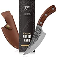 XYJ Handmade Forged Boning Knife Full Tang 5.5 inch Hammered Chef Kitchen Knife with Sheath Meat Cleaver for BBQ…
