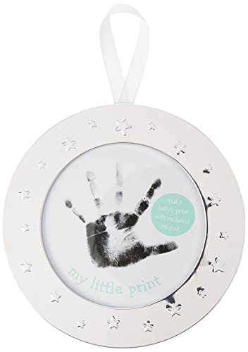 - Lil Peach Babyprints Handprint or Footprint Keepsake Ornament Kit with Included Ink Pad and Ivory Ribbon, Round, Silver