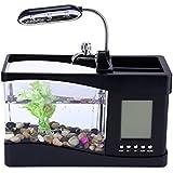 Mini Aquarium Goldfischglas mit Wasserpumpe und Licht, Wecker, Kalender, Uhr, Schwarz
