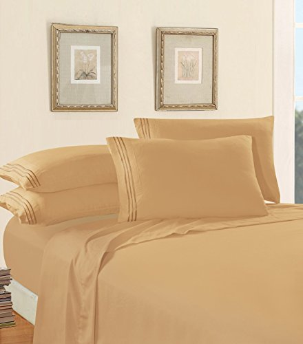 Luxury Bed Sheet Set on Amazon! Elegant Comfort Three-Line Design 1500 Thread Count Egyptian Quality Wrinkle and Fade Resistant 4-Piece Bed Sheet set, Deep Pocket, Queen, Gold