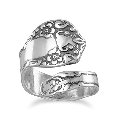 Sterling Silver Oxidized Floral Spoon Ring Adjustable ()