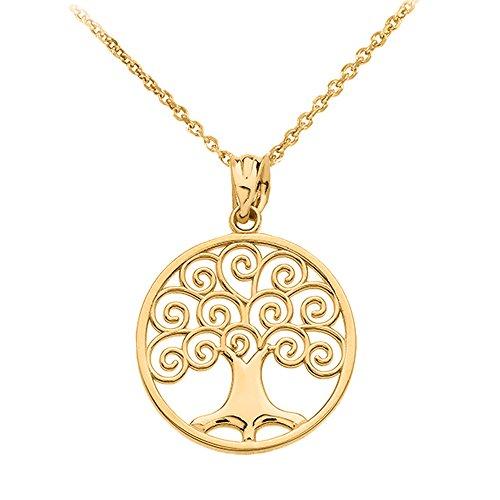 Polished 10k Gold Circle Tree of Life Openwork Pendant Necklace, - Circle Pendant Openwork