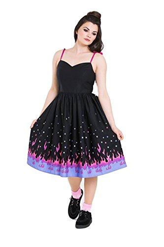 Hell Bunny Pinball Flames 1950s Rockabilly Pin Up Border Dress - Black (L)