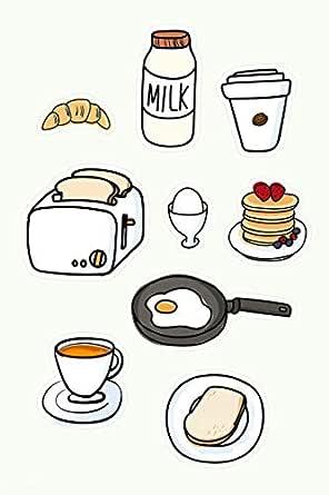 Composition Notebook: Cute Kawaii Kitty breakfast College