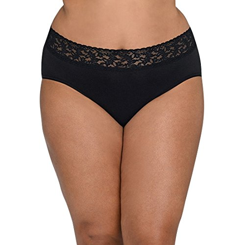 Hanky Panky Women's Plus Size Organic Cotton Signature Lace French Brief, Black, 3X (24W-26W)