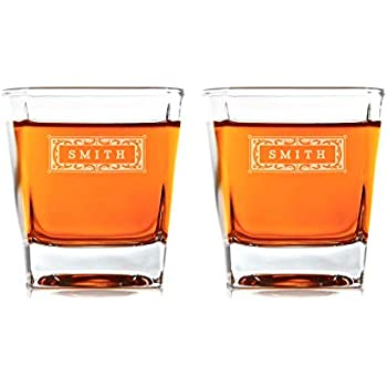 Swanky Badger Personalized Whiskey Glasses, Set of 2, Custom Whisky Glasses, 8.5oz (250ml), 3.5