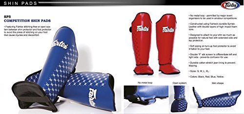 FAIRTEX COMPETITION SHIN GUARDS -SP5- RED (XLARGE)