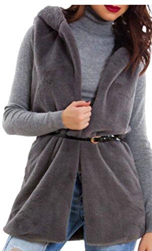 Pelliccia Scuro Autunno Caldo Gilet Grigio uk Womens Finta Outwear Inverno Giacca Oggi PEqwax0nfE