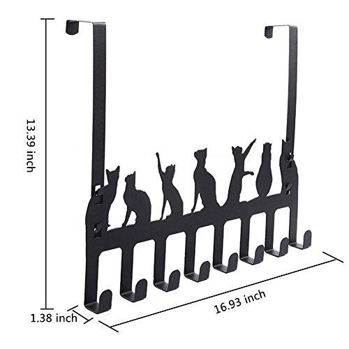Frjjthchy Creative Cat Over Door Hook Hanger Decorative Organizer Hooks Rack with 8 Hooks (M, Silver) by Frjjthchy (Image #4)