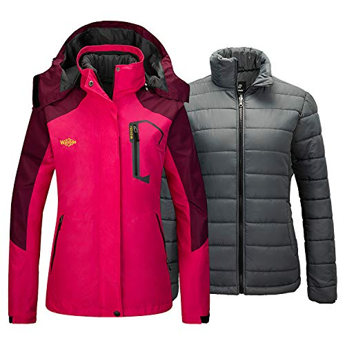 Wantdo Women's 3 in 1 Ski Jacket Set with Removable Puffer Inner Rose Red Large