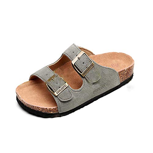 Women's Sandal Cork Sandals Slide Flat Strap Buckle Girl Leather Footbed Adjustable Casual Double Toe Shoes Summer Open Platform Suede Slides Green(7 US Men/8 US Women,24.5 cm Heel to Toe